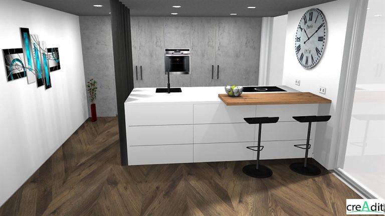 3d-keuken-eiland-bar-zijdeglans-beton look-kastenwand